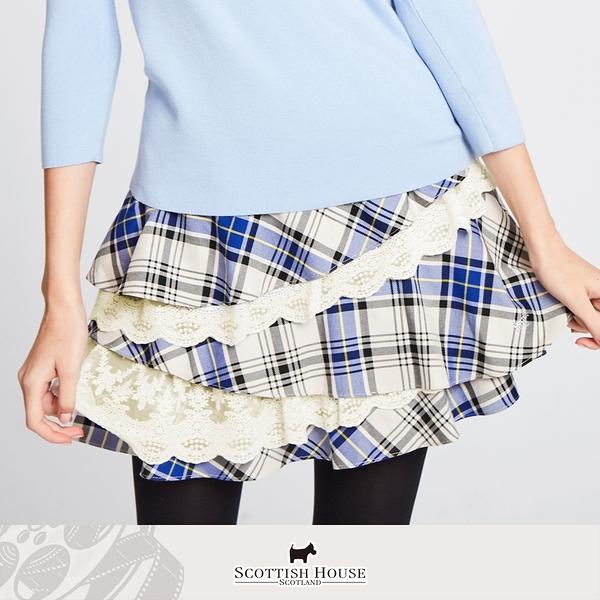斜裁不對稱蕾絲蛋糕格短裙 Scottish House 【AM2118】