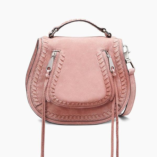 【Rebecca Minkoff 】Small Vanity Saddle 真皮 手提包 斜背包 肩背包 (玫瑰粉色)