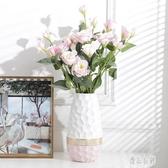 客廳擺件花瓶插花現代簡約時尚陶瓷工藝品餐桌電視柜創意擺設個性花藝CY1944【優品良鋪】