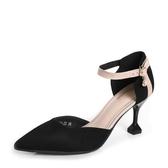 高跟涼鞋女 細跟涼鞋 春季高跟鞋女包頭一字扣帶高跟尖頭百搭韓版女鞋子【多多鞋包店】ds4453