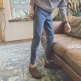 牛仔褲男士韓版潮流2018秋冬修身小腳褲休閒褲藍色九分直筒褲子男夢想巴士