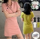 EASON SHOP(GW8070)韓版純色小塗鴉愛心翻領排釦POLO衫短袖連身裙洋裝女短裙膝上裙顯瘦半身裙綠