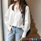 泡泡袖上衣 2021年春裝新款韓版白色襯衫女士長袖藍色襯衣設計感小眾百搭上衣寶貝計畫 上新