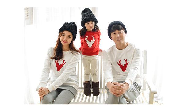 親子裝。冬季聖誕麋鹿圖樣式加絨加厚圓領長袖T恤 (男女童) *繪米熊童裝* (AI61202)