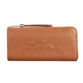 LONGCHAMP Le Foulonne浮雕賽馬logo荔枝紋皮革L型拉鍊長夾零錢包皮夾錢包證件包證件夾(咖啡)480806-504