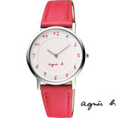 agnes b. 超薄白面數字紅色皮帶女錶 33mm 7N00-0BC0R BG4005P1   名人鐘錶高雄門市