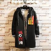 秋季男士風衣中長款韓版修身帥氣青少年連帽秋衣潮流學生嘻哈外套