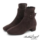 短靴 品味魅力皮帶釦低跟短靴(絨布咖)*BalletAngel【18-1860-2co】【現+預】