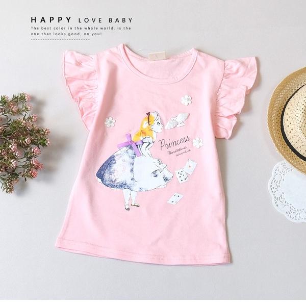 純棉 夢幻愛麗絲世界粉系短T 春夏童裝 女童棉T 女童上衣 女童短袖 女童T恤