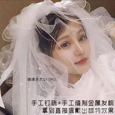 頭紗新娘頭紗2019釘珠多層韓式蓬蓬網紅旅拍照頭紗帶髮梳超仙森系 萊俐亞