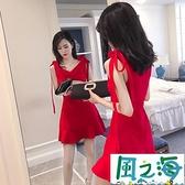 無袖洋裝 夏季氣質女神范吊帶顯瘦無袖魚尾裙子紅色性感洋裝超仙【風之海】