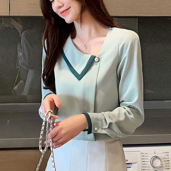 清倉288 韓國風名媛氣質斜領釘珠雪紡衫長袖上衣