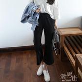 38.5度寬褲女九分褲韓國高腰女褲寬腿大尺碼休閒褲子 潮男街