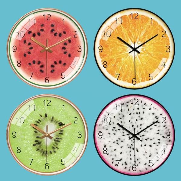 卡通水果餐廳現代簡約家用可愛西瓜橙獼猴桃掛鐘客廳個性創意鐘錶 酷男精品館