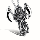 《QBOX 》FASHION 飾品【C20N972】精緻個性歐美骷髏死神鐮刀鑄造鈦鋼墬子項鍊/掛飾