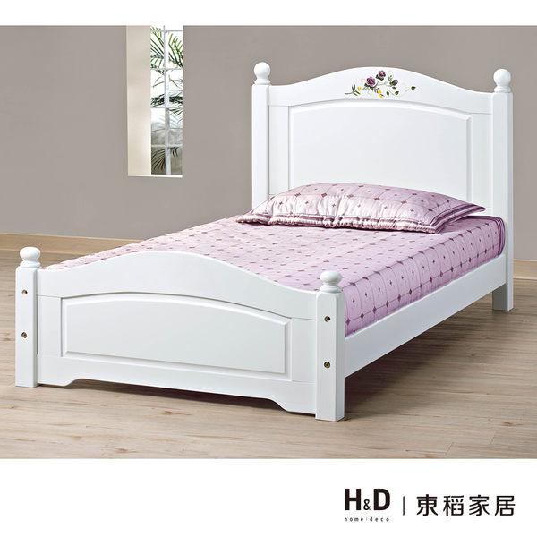 柏妮斯3.5尺白色彩繪檜木單人床(18CS3/68-1) H&D 東稻家居