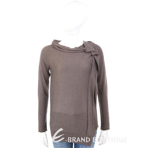 MARELLA 咖啡色抓褶造型長袖上衣 1230407-07
