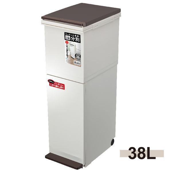 日本ASVEL鋼琴面雙層垃圾桶38L / 廚房寢室客廳浴室廁所 簡單時尚 大掃除 清潔衛生防臭