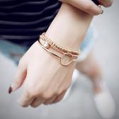 手鏈 手鏈小眾設計三件套情侶百搭可愛正韓多層手環手鐲手串女