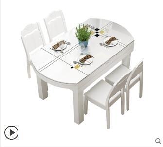 餐桌 餐桌椅組合實木餐桌伸縮現代小戶型折疊圓形飯桌家用北歐餐桌 JD