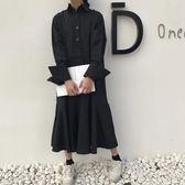 春裝韓版女裝寬鬆中長款荷葉邊長袖連身裙