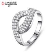 [Z-MO鈦鋼屋]弧形鑲鑽鍍白金戒指/精緻華麗風格/女孩約會飾品/日韓系列女孩配件單件價【BKA953】