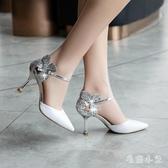 2020新款仙女包頭涼鞋女細跟單鞋性感一字帶扣尖頭OL大碼高跟鞋女鞋 LR22204『毛菇小象』