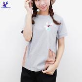 【春夏新品】American Bluedeer - 花鹿刺繡棉T 二色