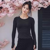 運動服-長袖純色短款緊身健身女T恤2色73uk46【時尚巴黎】