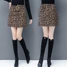 豹紋半身裙女短裙秋冬2020年新款潮時尚包裙大碼冬裙a字包臀裙子【快速出貨】