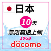 日本Docomo 10天10GB 無限高速上網
