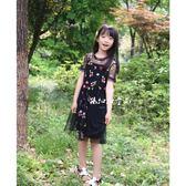 孫扣扣亮片花朵刺繡黑色網紗連身裙吊帶裙2件套女童仙女裙【好康618】