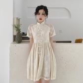 旗袍 洋裝 很仙的裙子女複古風2019夏季新款修身顯瘦短袖中長款旗袍式連衣裙