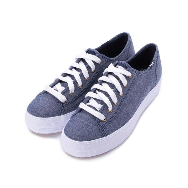 KEDS TRIPLE KICK 輕薄厚底帆布鞋 藍 9192W132714 女鞋 綁帶│休閒