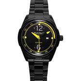 BAKLY 重裝系列爭鋒時刻玻麗腕錶-黃