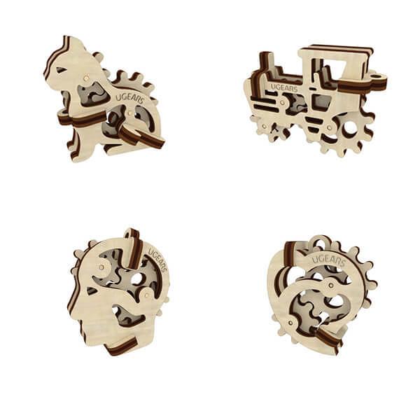 【海思】Ugears 手癢系列 Fidget - 迷你紀念套組 來自烏克蘭.橡皮筋動力.機械驚奇 ! 科學玩具