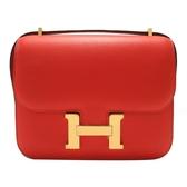 HERMES 愛馬仕 Rouge tomate S5 番茄紅金釦肩背包 ConstanceⅢ Mini  X刻