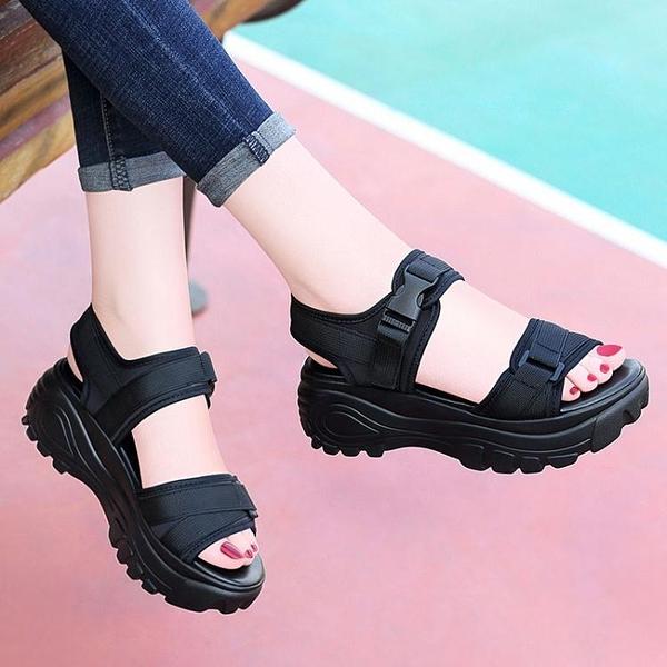 鬆糕厚底運動涼鞋女仙女風2021新款夏季網紅超火平底女士沙灘鞋子 快速出貨