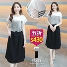 【五折價$430】糖罐子袖接緹花拼接條紋腰抽繩洋裝→白 預購【E58486】
