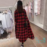 【Hera 赫拉】 新款格子大碼襯衫女中長款寬鬆過膝外套