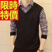 長袖毛衣歐美帥氣-頂級合身剪裁假兩件式男襯衫 2色59ac35【巴黎精品】