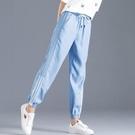 天絲牛仔褲 天絲牛仔褲女腳口條紋超薄款透氣寬鬆休閒褲夏季顯瘦冰絲九分褲女