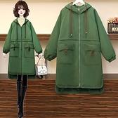 大衣外套L-4XL大碼冬裝加厚加絨防兔貂年新款風衣中長款氣質氣質外套女M031韓衣裳
