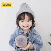 貓貓噠秋天冬季潮加厚男童女童寶寶針織毛線帽子圍巾一體兒童帽子
