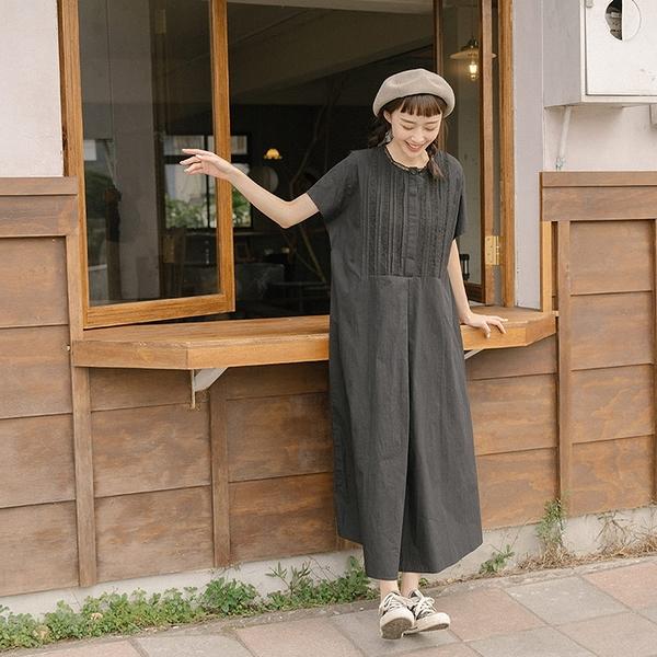 Queen Shop【01085336】蕾絲拼接棉麻設計連袖黑色長洋裝*現+預*