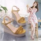 楔形鞋 坡跟涼鞋女ins潮2021夏新款百搭厚底鬆糕仙女風配裙子網紅高跟鞋 韓國時尚週