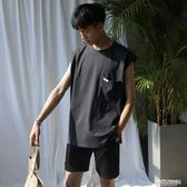 背心男 新款純色百搭坎袖背心男士寬鬆韓版運動無袖T恤   傑克型男館