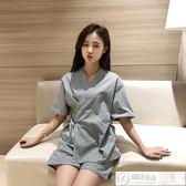 浴袍 日式和服汗蒸服女款100%純棉韓版可愛浴服套裝情侶全棉大碼桑拿服 居優佳品