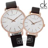 CK / K7B216G6.K7B236G6 / EVEN 沉靜雅緻岩紋皮革手錶 銀白x玫瑰金框x深褐 42mm+36mm