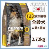 Nutram紐頓『T23無穀挑嘴潔牙全齡犬(火雞+雞肉)』2.72KG【搭嘴購】